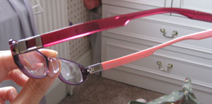 Purple frame with crystal red arm and peachy pink arm- nice and girly.