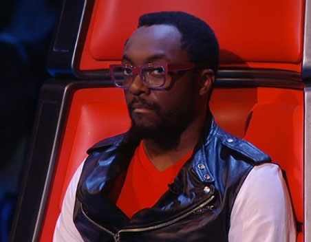 Will i am's Glasses on The Voice Results Show