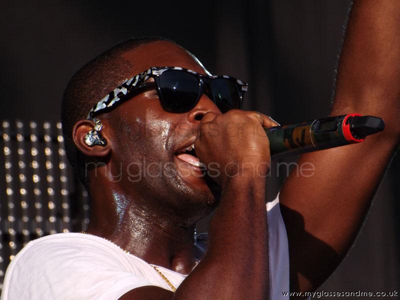 Tinie-Tempah at V Festival 2012 wearing Ray-ban sunglasses