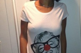 Rihanna wearing Red Nose day t-shirt