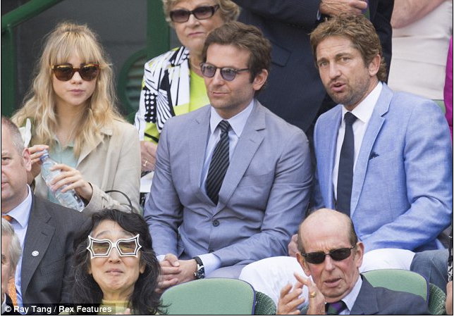 Bradley Cooper and Gerard Butler watching Wimbledon 2013