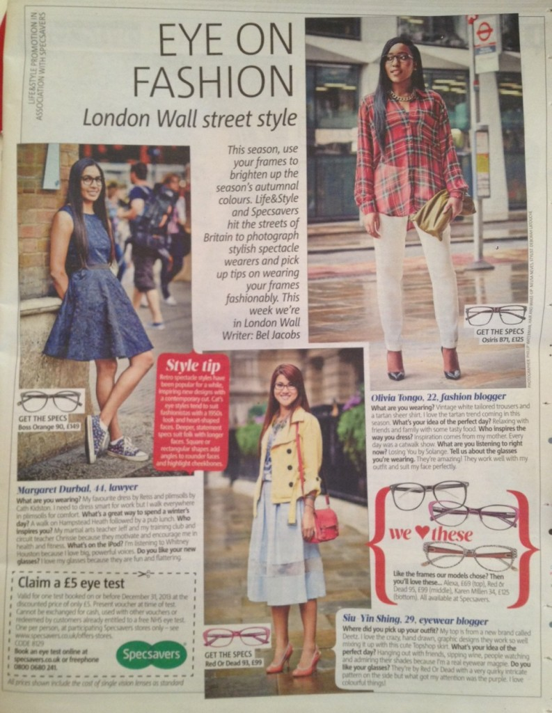 MyGlassesAndMe the eyewear blogger featured in the Metro