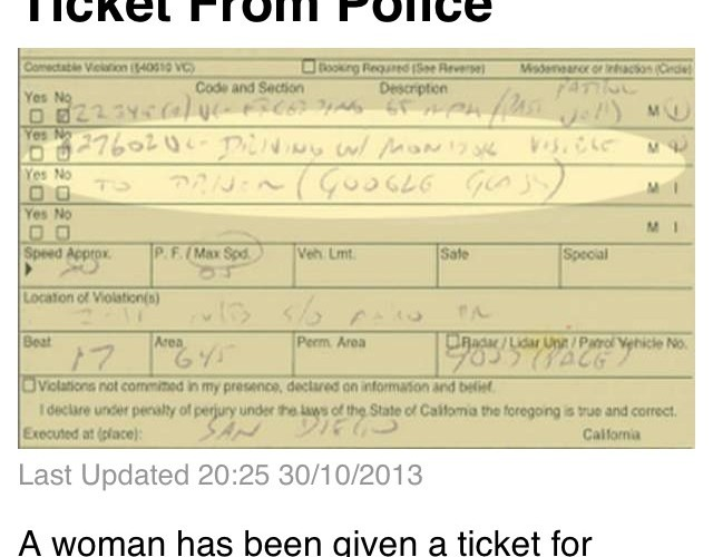 Google glass Driver got Ticket From Police