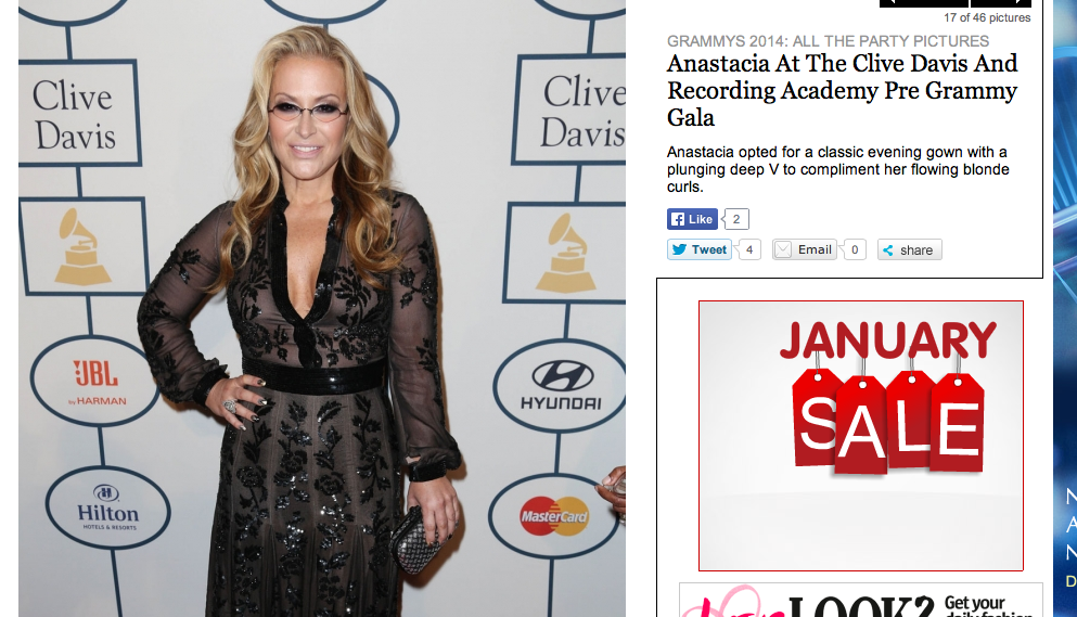 Anastacia at the Grammy Awards 2014-image from Look magazine