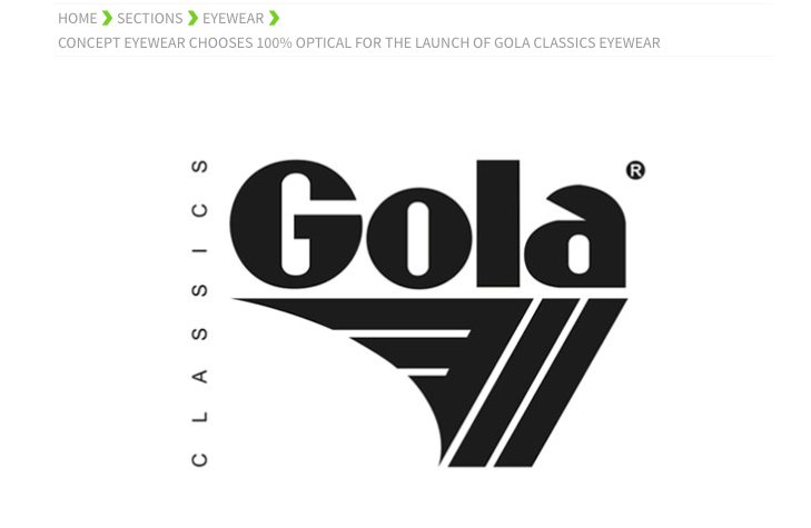 Gola Eyewear to launch at 100% optical
