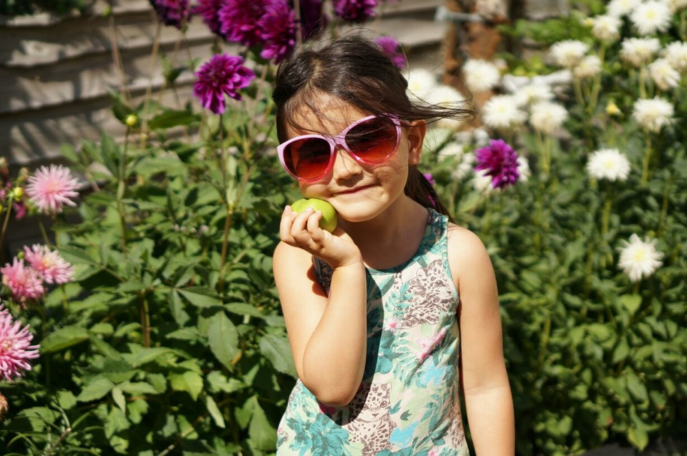 Antonia wearing Monkey Monkey Sunglasses Pink Dip Dye