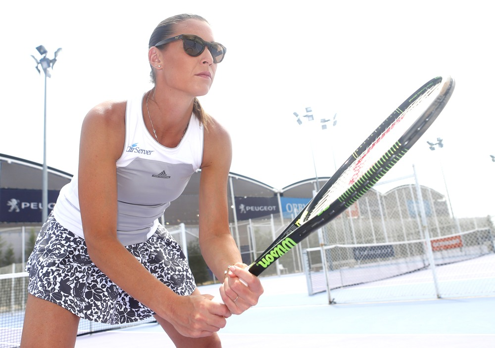 Flavia Pennetta of Italy poses for Maui Jim in Madrid