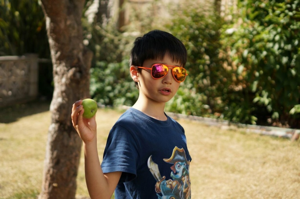 James wearing Monkey Monkey Sunglasses Orange Aviator
