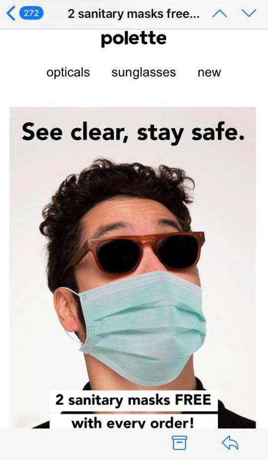 Polette coronavirus mask advert fail